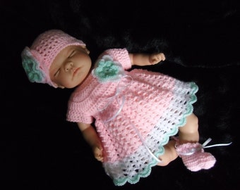 PDF crochet pattern.  Newborn Reborn crochet dress, hat and booties