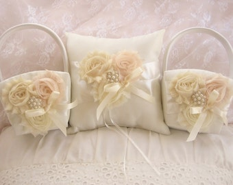 Flower Girl Baskets and Pillow -  Ivory Blossom  Ring Bearer Pillow, TWO Flower Girl Basket Vintage CUSTOM COLORS