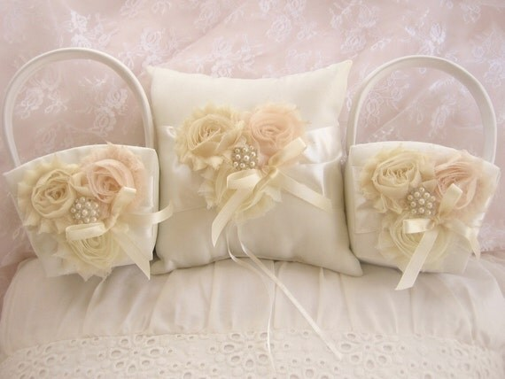 Vintage Flower Girl Basket And Ring Bearer Pillow : Flower girl baskets and pillow ivory blossom ring bearer