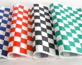 Deli Wrap / Pick your Color / 20 pack / Wax Paper Wrap / Basket Liners / Checkered Food Wraps / Greaseproof Paper Liners /Deli Sandwich Wrap