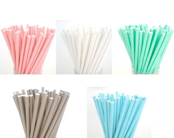 Solid Color Paper Straws Pick your Color / Choose White, Pink, Mint, Blue or Grey Paper Drinking Straws Wedding Straws Birthday Straws