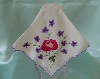 Fine Cotton White Handkerchief Brilliantly Colored Flowers in each Corner Purple Scalloped Machine Embroidered Edge Collectible Hankie Gift
