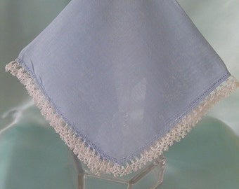 Blue Linen Handkerchief Ladies Hankies Vintage Hankies Collectible Hankie White Crochet Edge Hanky Accessory Womens Hankies