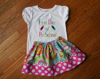 Girl's Toddlers First Day of School Outfit - Colorful Multi Floral Skirt with First Day of School Shirt