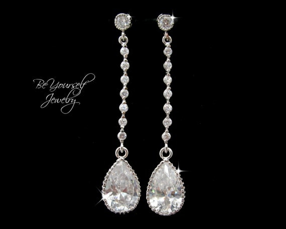 White Crystal Bridal Earrings Teardrop Bride Earrings Wedding Jewelry Cubic Zirconia Wedding Earrings Bridesmaid Gift CZ Sterling Earrings