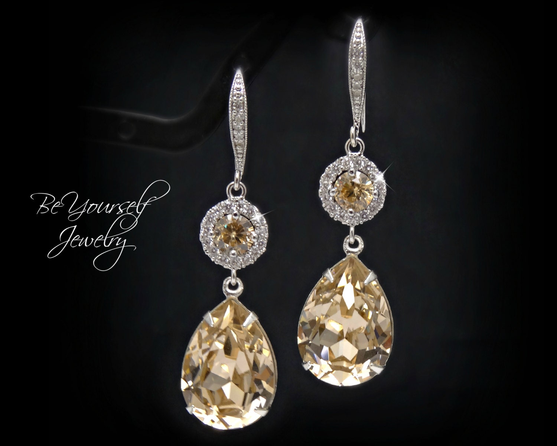 Champagne Bridal Earrings Pastel Wedding Jewelry Swarovski Crystal Light Silk Bride Teardrop Earrings Pale Beige Zirconia Bridesmaid Gift