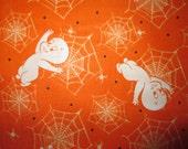 Ghosts Casper Friendly Ghost Spider Web Orange Cotton Fabric Fat Quarter or Custom Listing