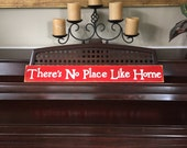 There's No Place Like Home Primitive Rustic Wizard of Oz Sign Plaque Hand Painted Wooden You Pick Color