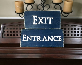 Set of 2 ENTRANCE EXIT Sign Plaque You Pick Color Wooden Hand Painted Perfect for Use in Store Shop Boutique With or Without Arrows