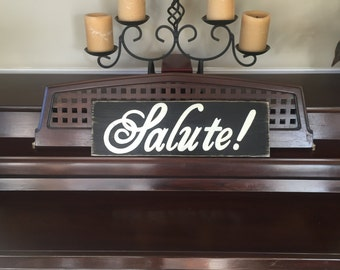 SALUTE Sign Plaque Wood Happy in Italian Cheers Italy Bar Decor Italy Hand Painted Wooden You Pick Color