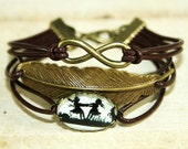 Eternity Infinity, Feather & Dancing Sisters Silhouette leather bracelet bronzecolored - twin sister best friend daughter jewelry gift