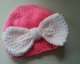 RTS 0-3 month Bow Hat, Girl Hat, Knit Beanie, Photo Prop, Knit Photo Prop
