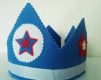 Blue Felt Birthday Crown, Boys Birthday, Dress Up