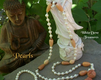 ASIAN PEARL MALA Necklace Bracelet Crystal Prayer Tassel Antique Carved Jade Reiki Goddess Aura Elegant White Wedding Gift Chakra Meditate