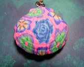 """New Handmade Fimo Polymer Clay Abstract blue Pink  Rose Floral Large Sea Shell Ocean Beach Keychain 3"""""""