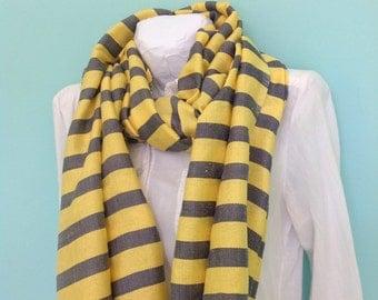 Yellow and Gray Cotton Nautical Stripe Scarf- Silver grey and Yellow Men women Handwoven Ethiopian Cotton Scarf