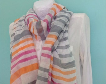 Spring summer scarf in Orange pink gray white stripes- gauze scarf-lightweight cotton gauze scarf for women- striped scarf - echarpe