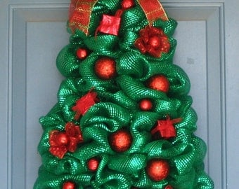 Metallic Green Deco Mesh Christmas tree wreath all Red ornaments and ribbons Wreath Wall or Door Decor