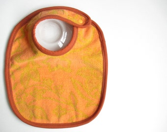EcoBib--Adjustable Snap Closure--Vintage Oranges & Gold Design--Ready to Ship