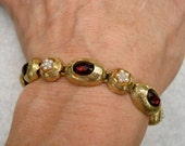 Vintage Signed ART Bracelet Red Oval Rhinestones Faux Pearls Gold Tone
