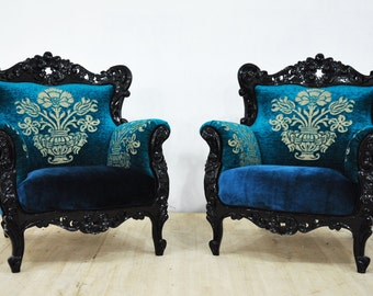 2 x Vintage Armchairs - black king