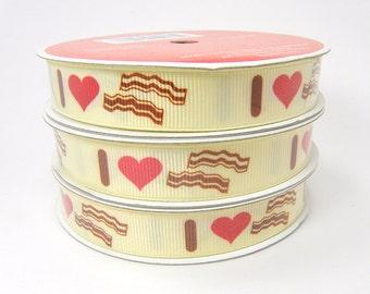 I Love Bacon Ribbon, I Heart Bacon Ribbon, I <3 Bacon Cream Colored Ribbon, 3 yd 5/8 in