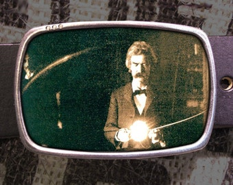 Twain-Tesla Belt Buckle, Science Buckle 606
