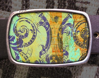 French Collage Belt Buckle, Vintage Inspired, Shabby Chic 619