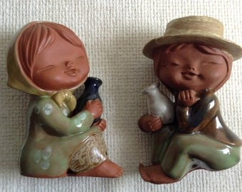 Pottery Male & Female Figure. Vintage 1960.  Danish Modern style.  Made in Japan.  Lisa Larson style.  Seated Boy Girl Figurines.