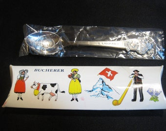 Vintage Rolex Watch Souvenir Spoon By Bucherer Jewlerlers/Switzerland Silver Plated in Original Box - 1950's