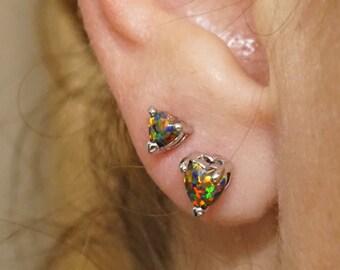 Black Heart Fire Opal Post Earrings