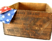 Vintage Fireworks Crate / Fireworks Wood Storage Box, Devil on a Walk (c.1930s) - Unique Storage Box, Home Decor, Fourth of July