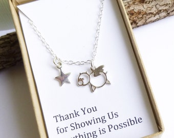 Sterling Silver Flying Pig Necklace...  with Teacher Appreciation Gift Message... Thank You