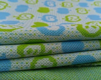 "Vintage polyester apple fabric remnant 23"" X 43"" in blue and green"