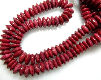 Red  Corundum Ruby  German Cut Rondelle Beads Size - 9 To 11MM AAA Quality Sold 14 Inch /Strands
