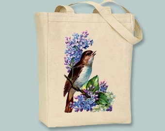 Lilacs and Vintage bird Illustration Canvas Tote -- Selection of sizes available