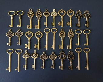 Keys to the World - Skeleton Keys - 30 x Large Vintage Keys Antique Bronze Brass Skeleton Key Skeleton Keys Set