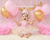 Pink & gold princess theme Set -crochet tutu dress- newborn, 1st, 2nd birthday,Photo Prop Baby shower gift Custom size made to order