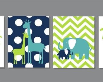Giraffe, Elephant, Safari, Palm Tree, Nursery Wall Art- Set of four prints