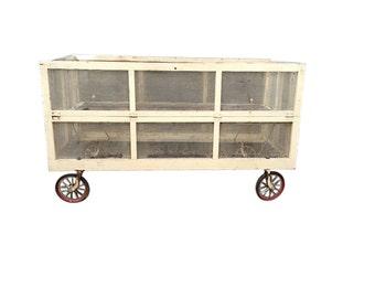 Interesting Vintage Crib/Playpen - Great Wheel Detail
