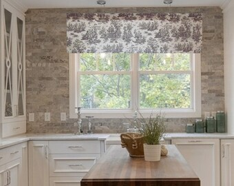 French Country Decor Brown Natural TOILE Curtain Valance 50 x 16 Handmade in the USA