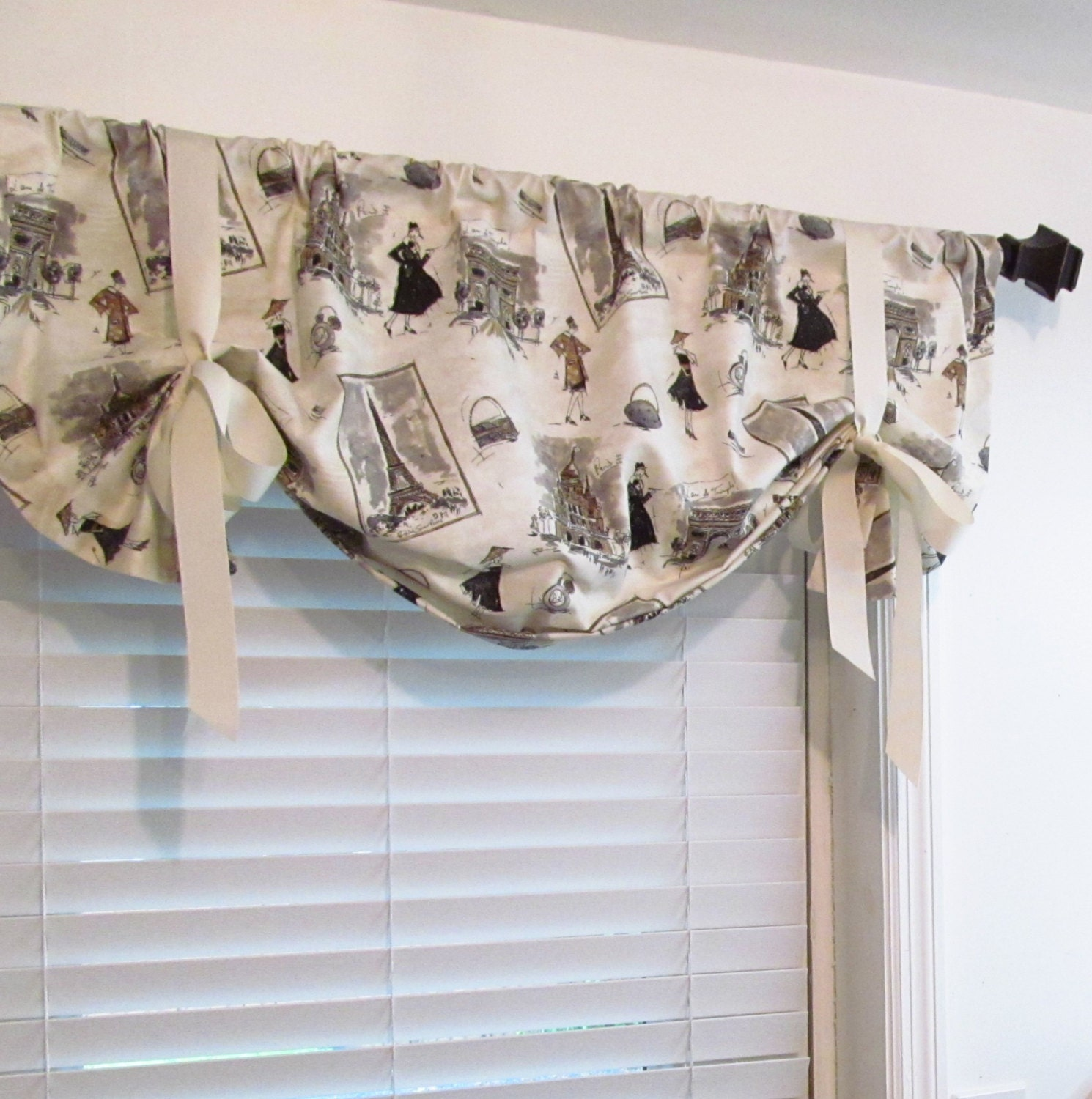 Lined Tie Up Valance Vintage Paris Print Balloon Shades