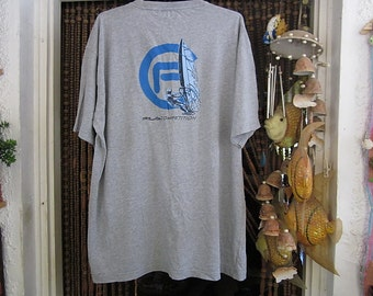 Men's FILA COMPETITION Light Gray Cotton T-Shirt with Backside Surfboard Logo in Blues & Black, Size XXLarge
