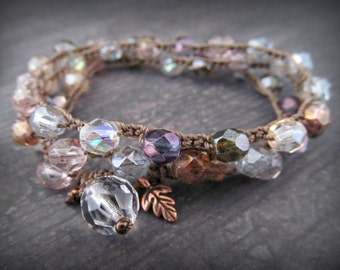 Boho Crochet Wrap Bracelet or necklace,  Earthy jewel tone colors with copper accents - bohemian - hippie chic