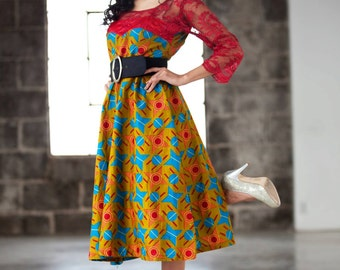 Beautiful African Print Dress Mix with lace.This Dress is unique and beautiful made,you will stand up in the crowd,Red Dress, Lace Dress