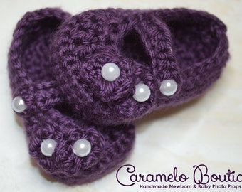 Crochet Baby Girl Mary Janes Shoes-Crochet Purple Baby Girl Shoes-Purple Baby Girl Loafers-Newborn Baby Girl Slippers-Photography Prop