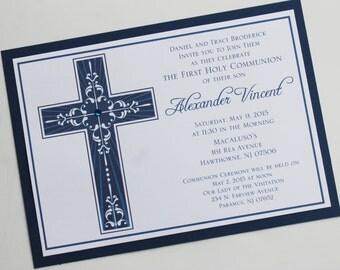 Magestic  Cross Boy Communion or Baptism Invitation