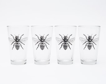 Bee Pint Glasses, Set of Four - Screen Printed French Honey Bee Glasses