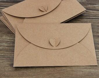 Set of Handmade Kraft  envelopes/Heart bottom/ wedding envelopes/ paper Kraft envelopes