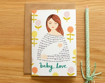 Illustrated 'Baby Love' Card